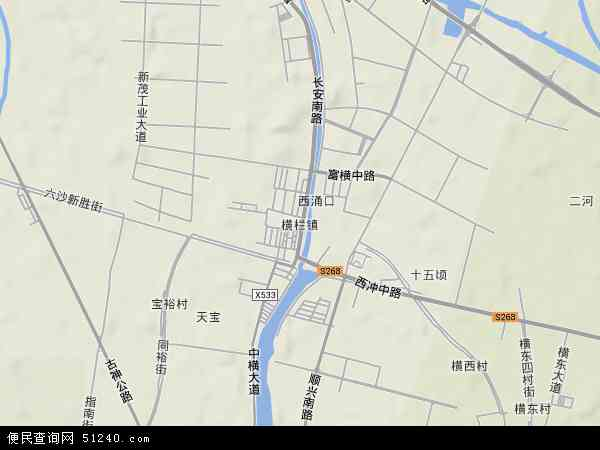 中国广东省中山市横栏镇地图(卫星地图)
