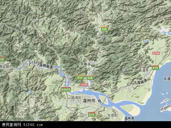 中国浙江省温州市永嘉县鹤盛镇地图(卫星地图)