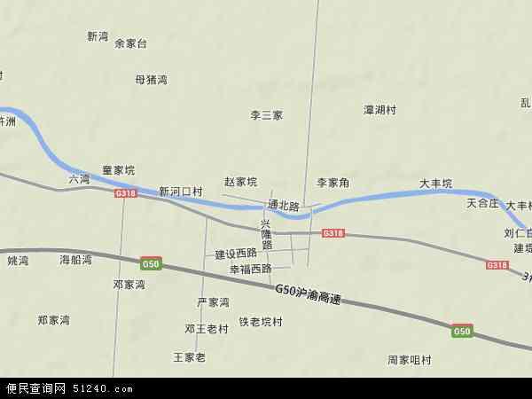 中国湖北省省直辖县级行政区划仙桃市胡场镇地图(卫星地图)图片