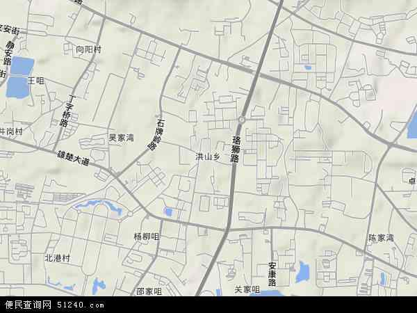 中国湖北省武汉市洪山区洪山地图(卫星地图)