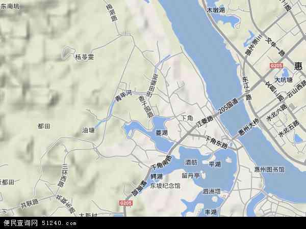 中国广东省惠州市惠城区江南地图(卫星地图)