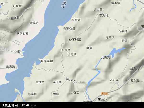 中国重庆市长寿区江南地图(卫星地图)