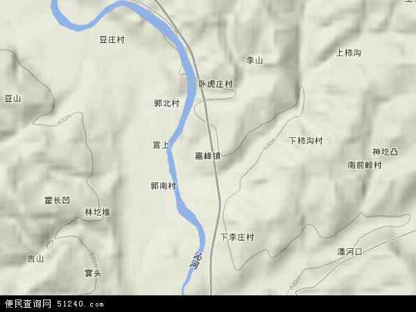 中国山西省晋城市沁水县嘉峰镇地图(卫星地图)