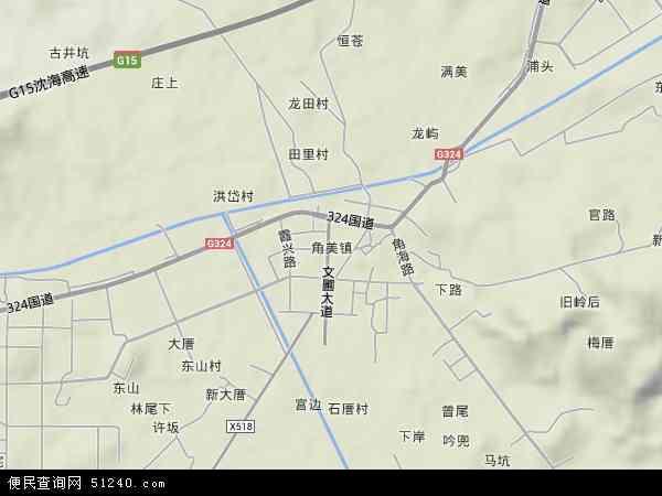 中国福建省漳州市龙海市角美镇地图(卫星地图)