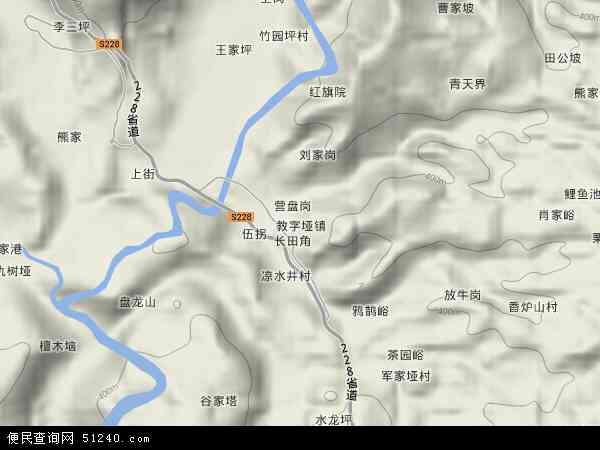 中国湖南省张家界市永定区教字垭镇地图(卫星地图)