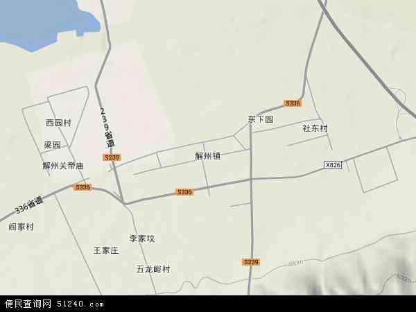 中国山西省运城市盐湖区解州镇地图(卫星地图)