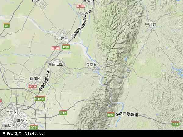 中国四川省成都市金堂县地图(卫星地图)