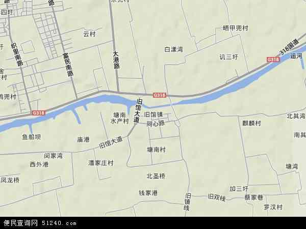 中国浙江省湖州市南浔区旧馆镇地图(卫星地图)