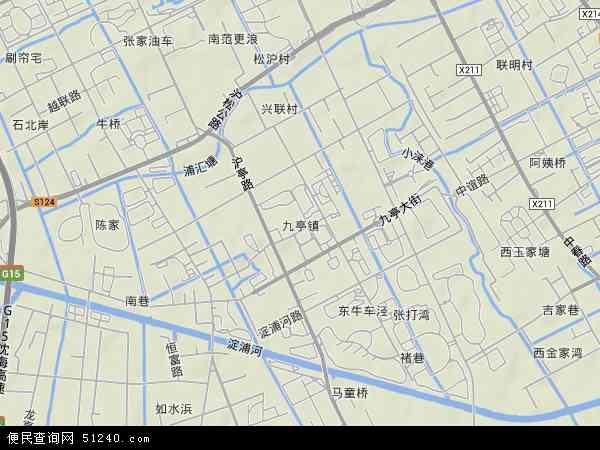 中国上海市松江区九亭镇地图(卫星地图)