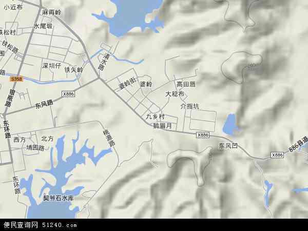 九乡村地图 - 九乡村卫星地图 - 九乡村高清航拍地图
