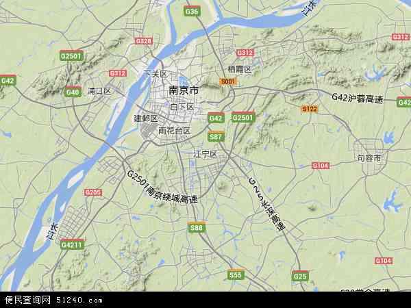 中国江苏网_中国江苏省南京市江宁区地图(卫星地图)