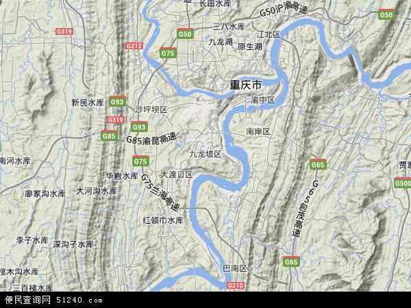 中国重庆市九龙坡区地图(卫星地图)