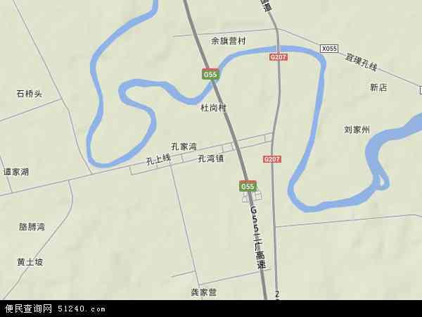 中国湖北省襄阳市宜城市孔湾镇地图(卫星地图)