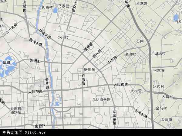 中国云南省昆明市盘龙区联盟地图(卫星地图)
