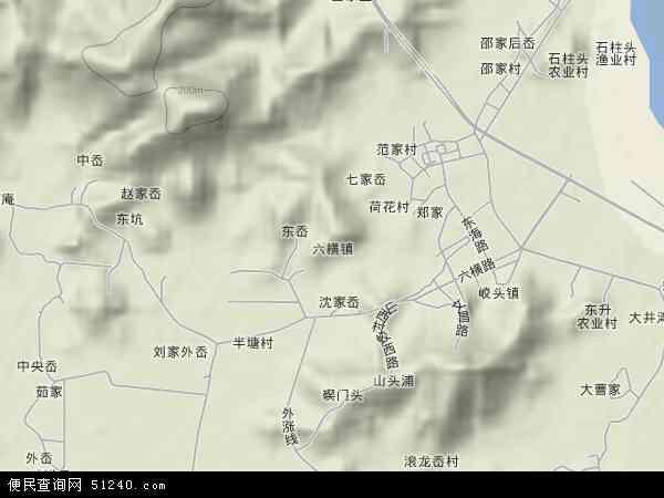 中国浙江省舟山市普陀区六横镇地图(卫星地图)