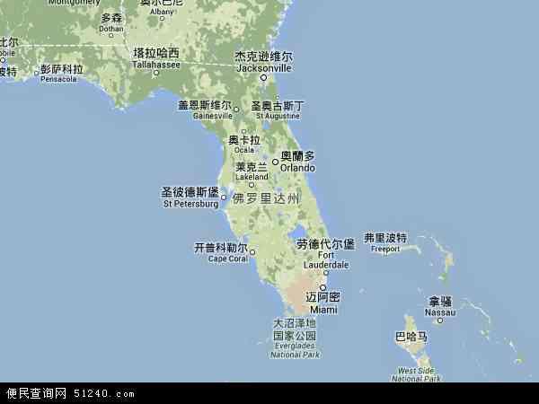 美国佛罗里达罗德岱堡地图(卫星地图)