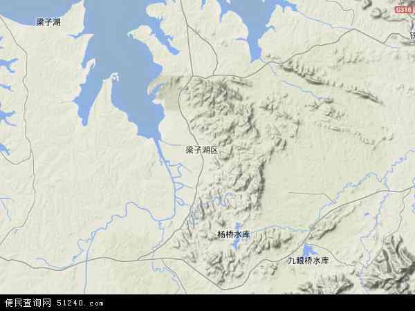 中国湖北省鄂州市梁子湖区地图(卫星地图)
