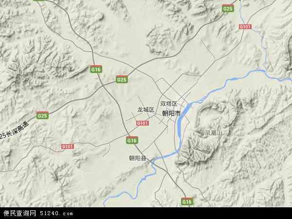 中国辽宁省朝阳市龙城区地图(卫星地图)
