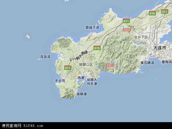 中国辽宁省大连市旅顺口区地图(卫星地图)