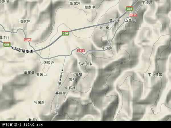 中国湖南省怀化市沅陵县马底驿乡地图(卫星地图)