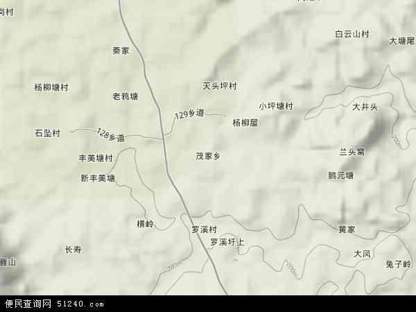 中国湖南省永州市新田县茂家乡地图(卫星地图)