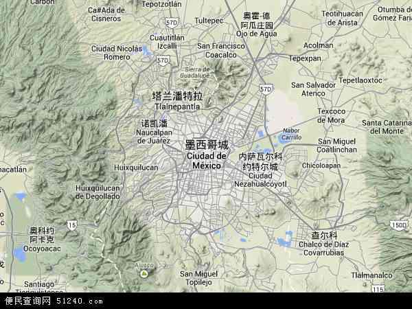 墨西哥城地图 - 墨西哥城卫星地图