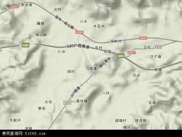 中国广西壮族自治区梧州市岑溪市马路镇地图(卫星地图)