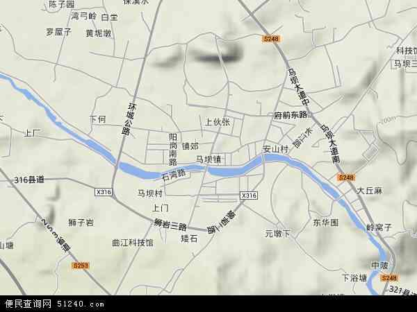中國廣東省韶關市曲江區馬壩鎮 /strong>地圖(衛星地圖)圖片