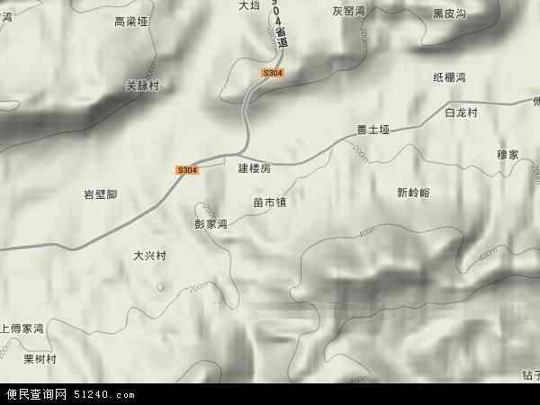 中国湖南省张家界市慈利县苗市镇地图(卫星地图)