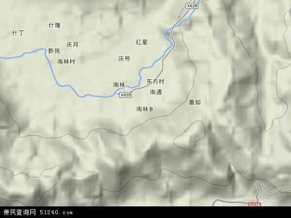 中国海南省省直辖县级行政区划保亭黎族苗族自治县南林乡地图(卫星