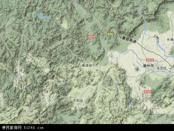 中国福建省漳州市南靖县地图(卫星地图)
