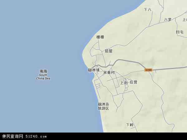 中国广东省湛江市麻章区硇洲镇地图(卫星地图)