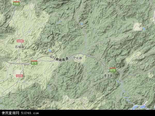 宁化县地图 - 宁化县卫星地图