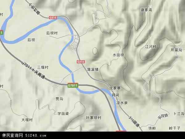 中国陕西省安康市汉阴县蒲溪镇地图(卫星地图)