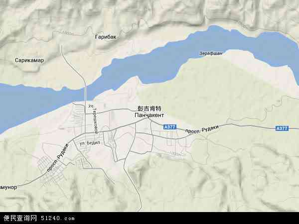 塔吉克斯坦彭吉肯特地图(卫星地图)
