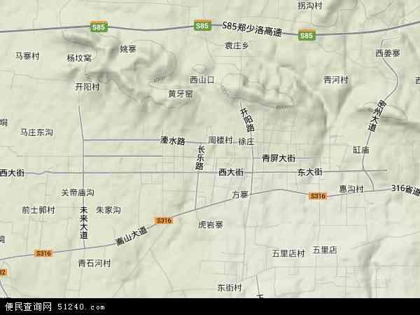 中国河南省郑州市新密市青屏街地图(卫星地图)