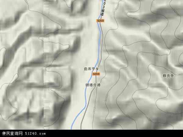 中国青海省黄南藏族自治州同仁县曲库乎乡地图(卫星地图)