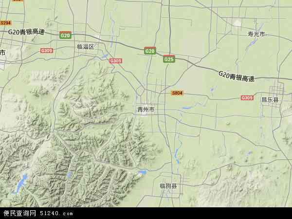 中国山东省潍坊市青州市地图(卫星地图)