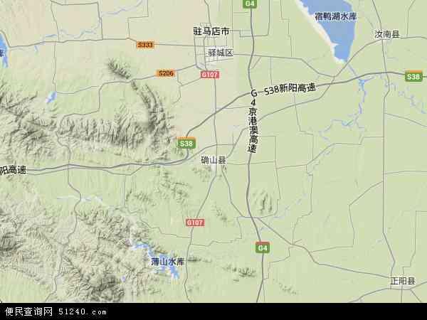 中国河南省驻马店市确山县地图(卫星地图)