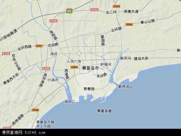中国河北省秦皇岛市地图(卫星地图)