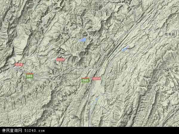 中国重庆市黔江区地图(卫星地图)