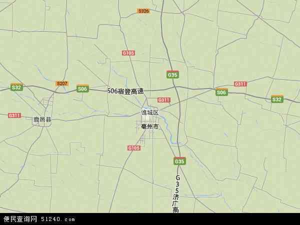 中国安徽省亳州市谯城区地图(卫星地图)