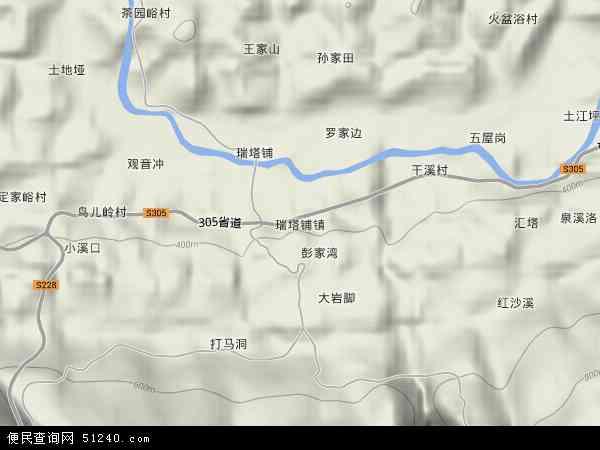 桑植县瑞塔铺镇新小区卫星图