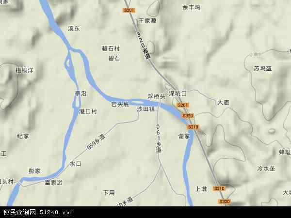中国江西省上饶市广丰县沙田镇地图(卫星地图)图片