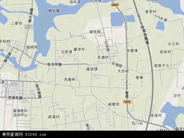 中国江苏省苏州市吴江区盛泽镇地图(卫星地图)
