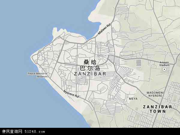 坦桑尼亚桑给巴尔地图(卫星地图)