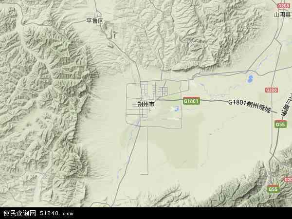 中国山西省朔州市朔城区地图(卫星地图)