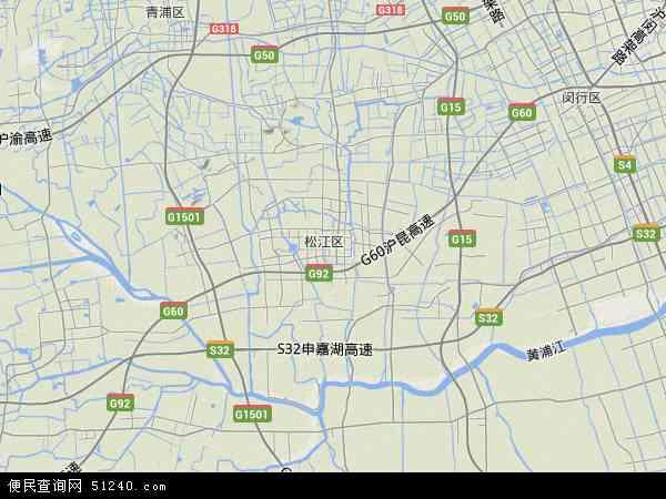 中国上海市松江区地图(卫星地图)
