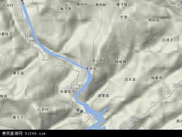 中国重庆市忠县涂井乡地图(卫星地图)