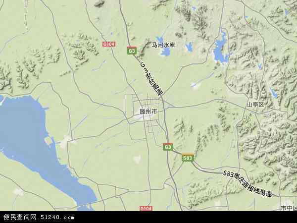 中国山东省枣庄市滕州市地图(卫星地图)